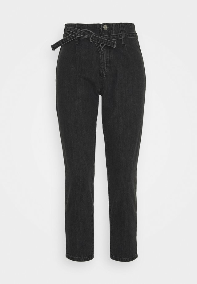 PAPER BAG TIE WAIST MOM - Jeansy Relaxed Fit - charcoal