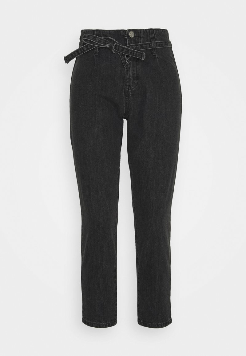 Missguided Petite - PAPER BAG TIE WAIST MOM - Jeans baggy - charcoal
