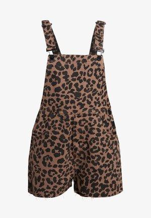LEOPARD SHORT DUNGAREE - Jumpsuit - brown