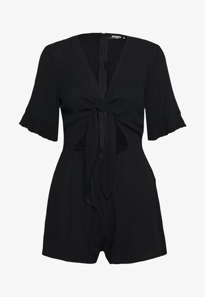 TIE FRONT KIMONO SLEEVE PLAYSUIT - Overal - black