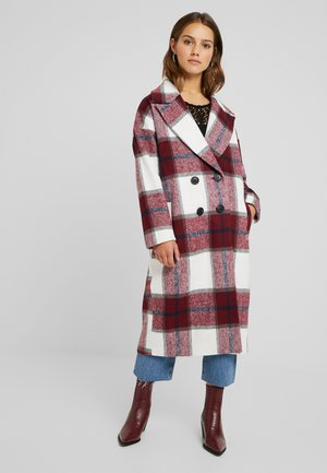 BRUSHED CHECK LONG LINE DOUBLE BREASTED COAT - Zimní kabát - red