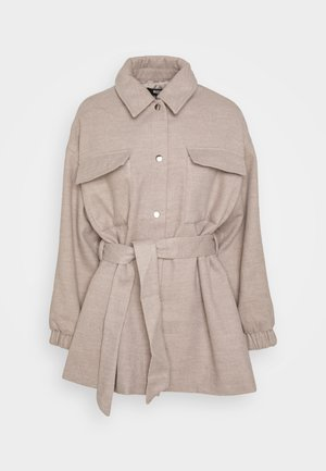 BRUSHED WAIST JACKET - Short coat - grey
