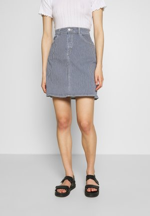 STRETCHY HICKORY STEFFI  - Mini skirt - blue/white