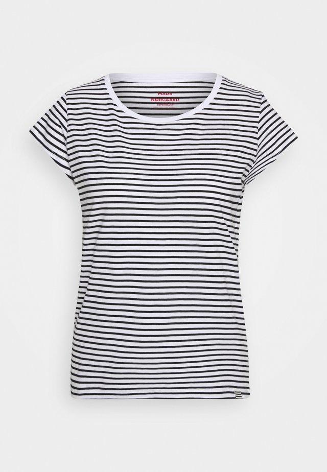 STRIPE TEASY - Print T-shirt - white/black