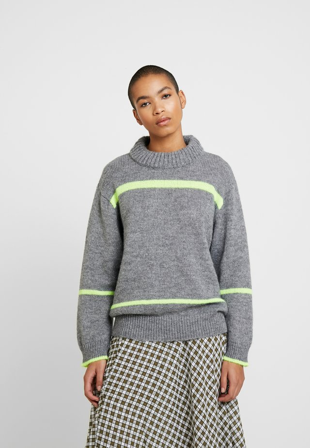 GLITTER NEON KIRAMO - Stickad tröja - grey melange
