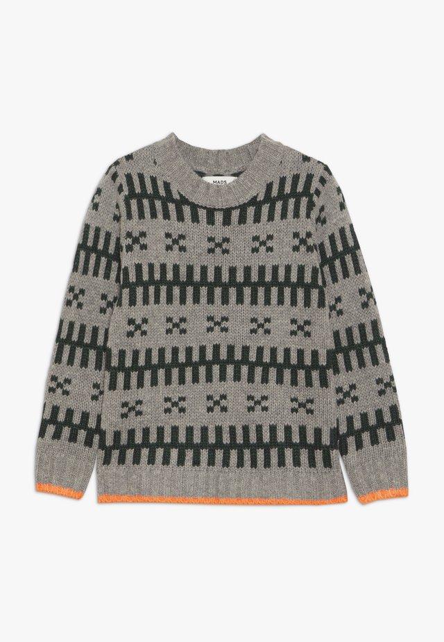 REYKJAVIK KELDINO - Stickad tröja - grey melange/green/neon orange