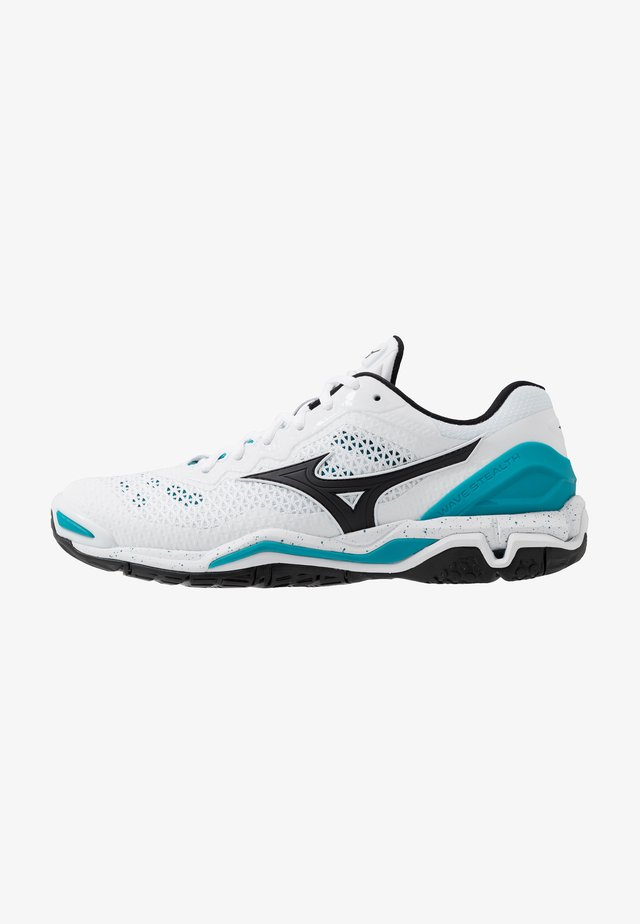 WAVE 5 - Handball shoes - white/black/enamel blue