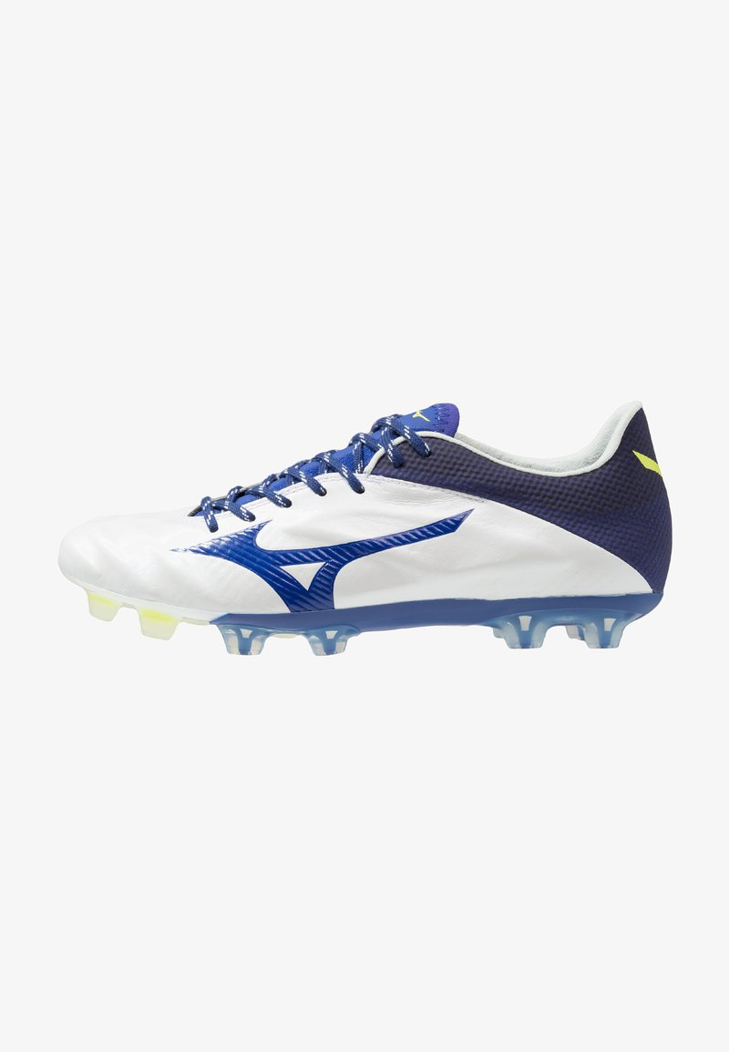Mizuno - REBULA 2 V1 JAPAN - Fußballschuh Nocken - white/mazzarine blue/safety yellow