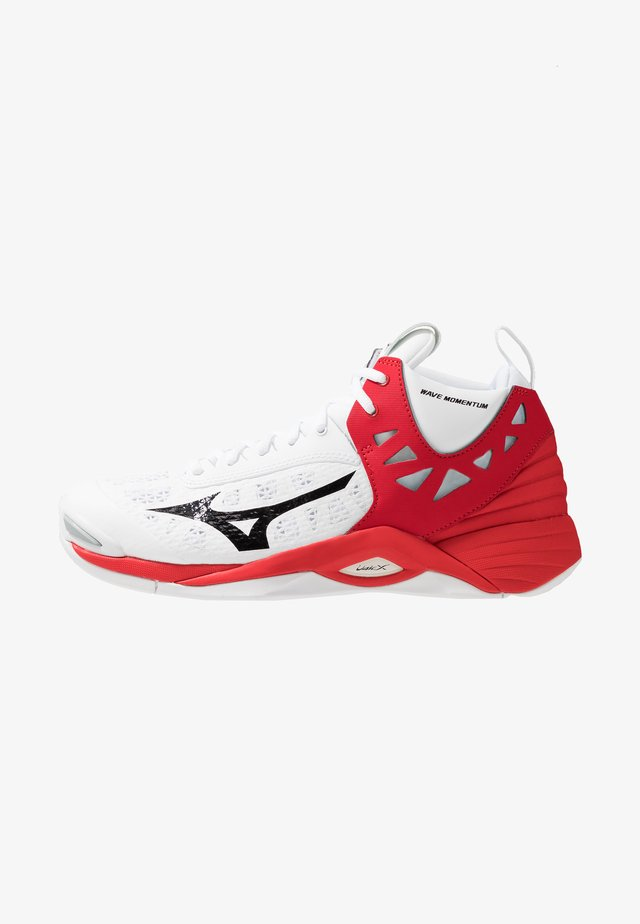 WAVE MOMENTUM MID - Volleyballschuh - white/black/high risk red