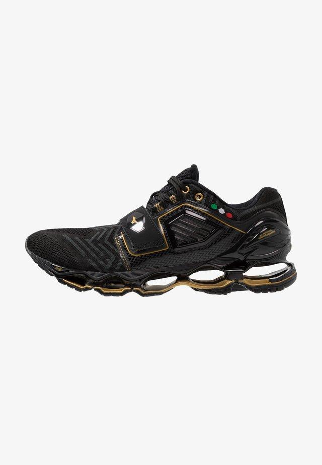 WAVE TENJIN 4 - Neutral running shoes - black/dark shadow/gold
