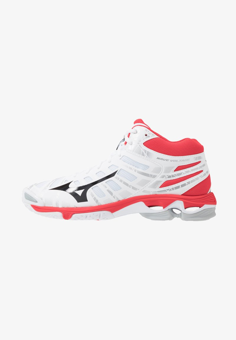 Mizuno - WAVE VOLTAGE MID - Volleyballschuh - white/black/high risk red