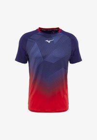 Mizuno - SHADOW GRAPHIC TEE - T-shirt print - tomato/astral aura - 3