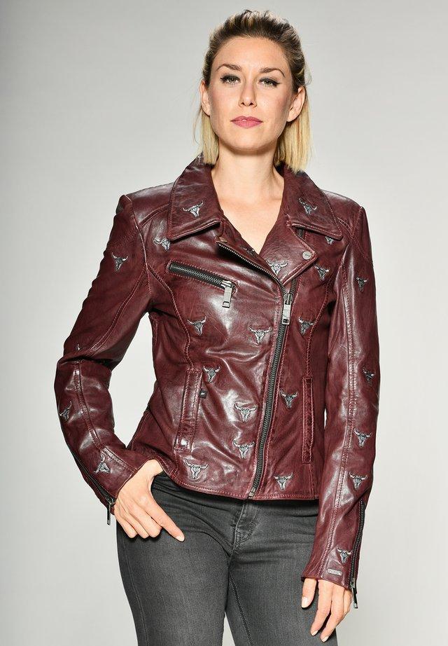 Leather jacket - mahagony