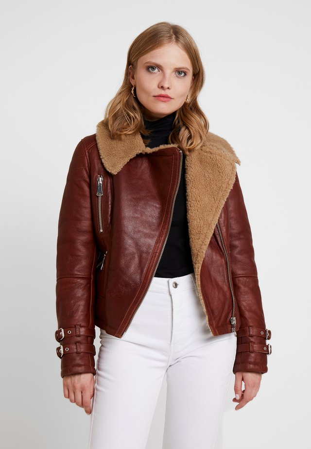 SLOWN - Leather jacket - cognac
