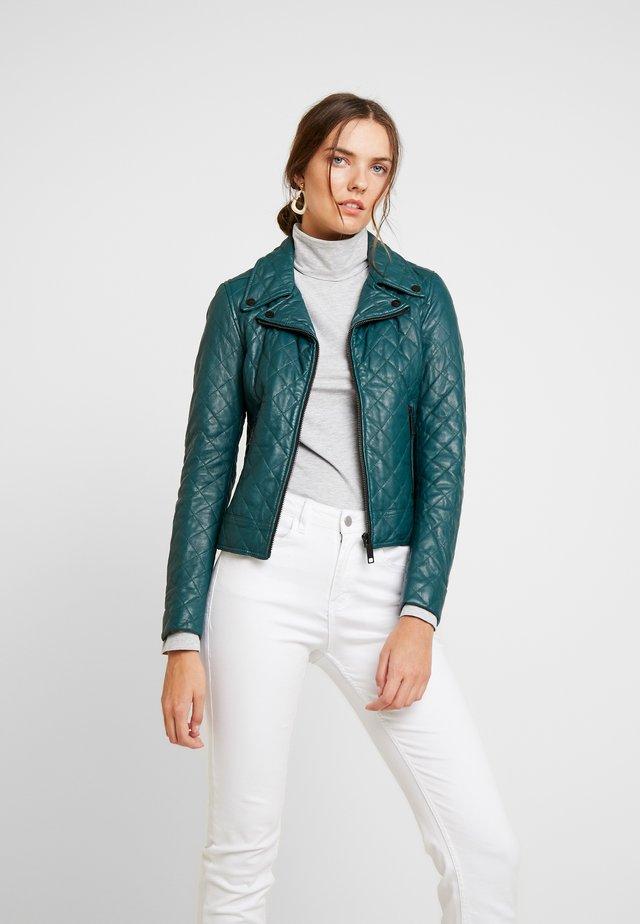 SCHELON - Leather jacket - petrol