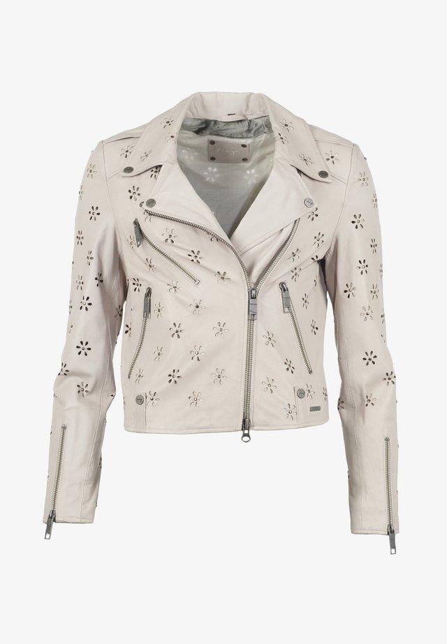 LEICHT TAILLIERT FLOWER - Leather jacket - grau