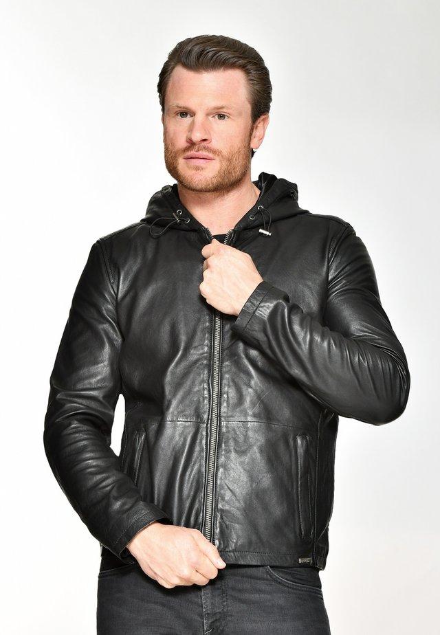 KAPUZE ESTERO - Leather jacket - black