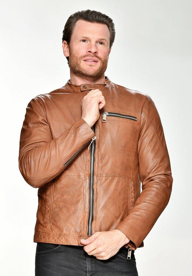 Leather jacket - cognac