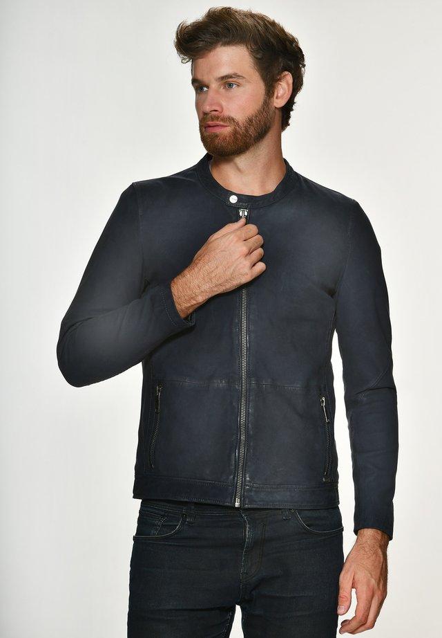 PRESCOTT - Leather jacket - dark blue