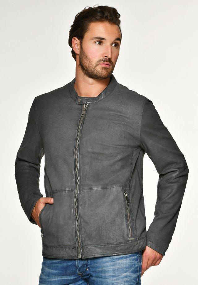 PRESCOTT - Leather jacket - anthracite