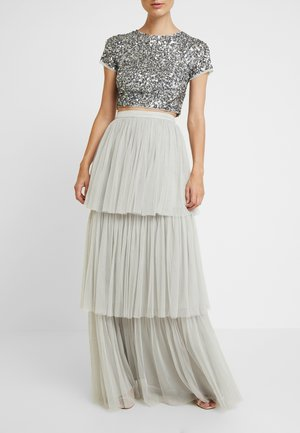 TIERED SKIRT WITH WAISTBAND - Falda larga - soft grey