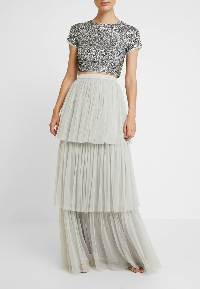 TIERED SKIRT WITH WAISTBAND - Maxirok - soft grey