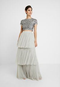 Maya Deluxe - TIERED SKIRT WITH WAISTBAND - Maxi skirt - soft grey - 1