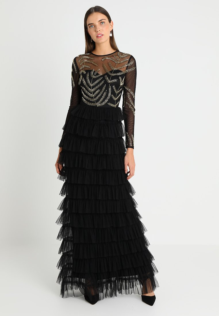 Maya Deluxe - EMBELLISHED MAXI DRESS WITH TIERED SKIRT - Occasion wear - black