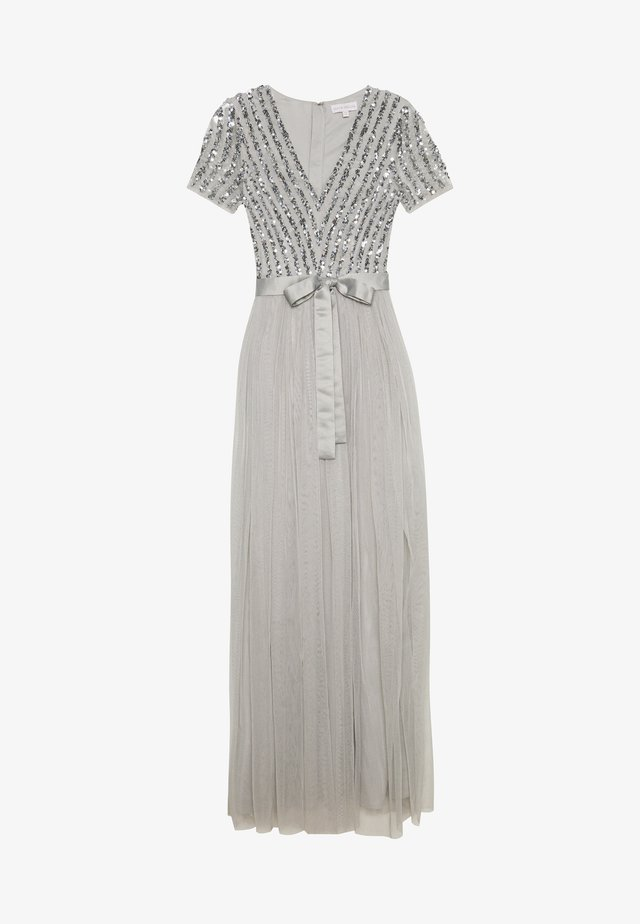 STRIPE EMBELLISHED MAXI DRESS WITH BOW TIE - Iltapuku - soft grey