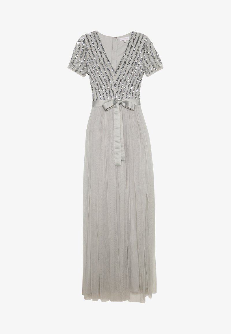 Maya Deluxe - STRIPE EMBELLISHED MAXI DRESS WITH BOW TIE - Ballkjole - soft grey