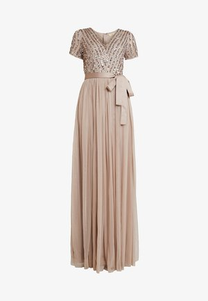 STRIPE EMBELLISHED MAXI DRESS WITH BOW TIE - Galajurk - nude