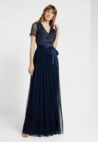 Maya Deluxe - STRIPE EMBELLISHED MAXI DRESS WITH BOW TIE - Suknia balowa - navy - 1