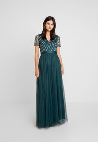 Maya Deluxe - STRIPE EMBELLISHED MAXI DRESS WITH BOW TIE - Vestido de fiesta - emerald - 2