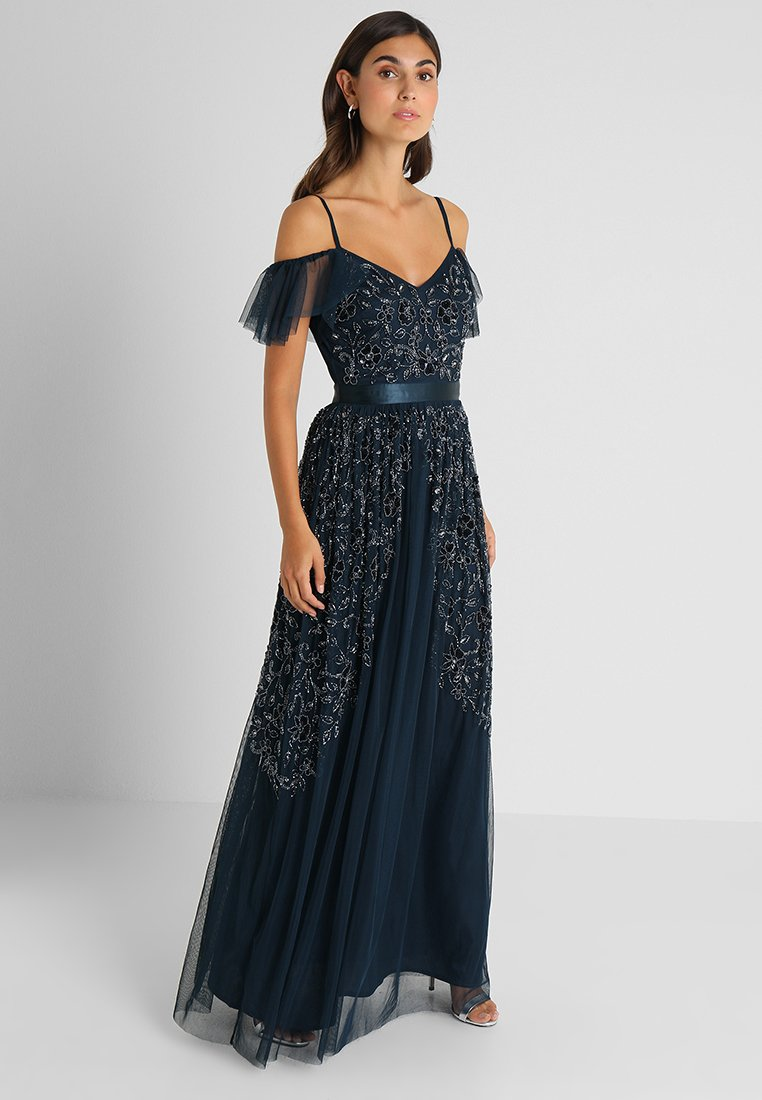 Maya Deluxe - COLD SHOULDER EMBELLISHED MAXI DRESS - Occasion wear - navy