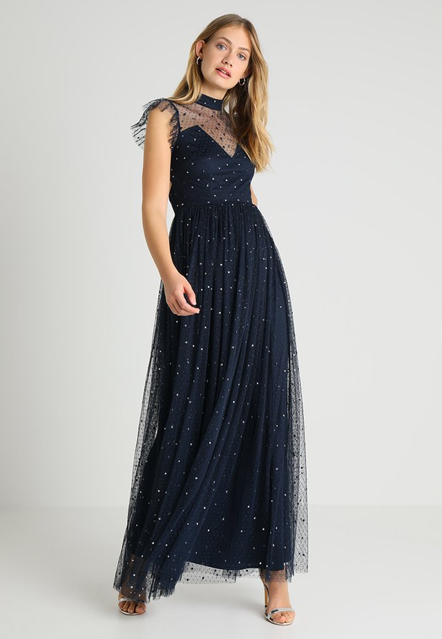 SPOT HIGH NECK MAXI WITH SCATTERED SEQUIN - Ballkjole - navy