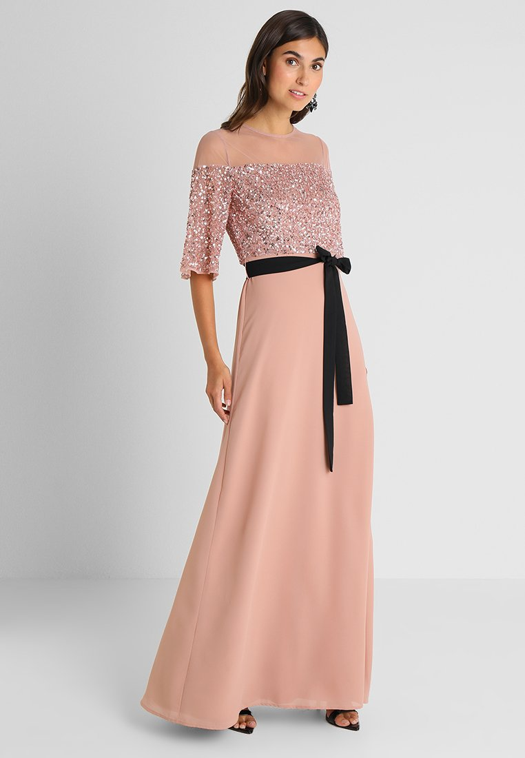 Maya Deluxe - SEQUIN BODICE MAXI WITH SHEER YOKE AND CONTRAST TIE BELT - Iltapuku - pale mauve