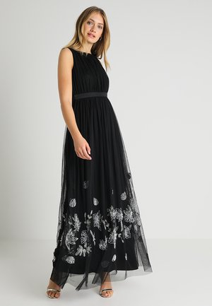 EMBELLISHED HEM MAXI DRESS WITH WAISTBAND - Occasion wear - black/silver