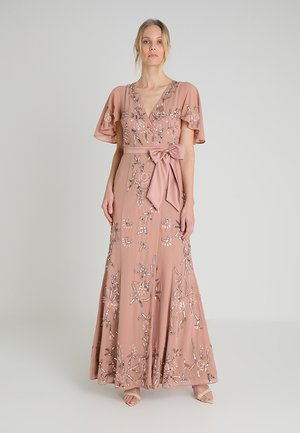 WRAP MAXI DRESS WITH FLORAL EMBELLISHMENT AND BOW - Iltapuku - silver/pink