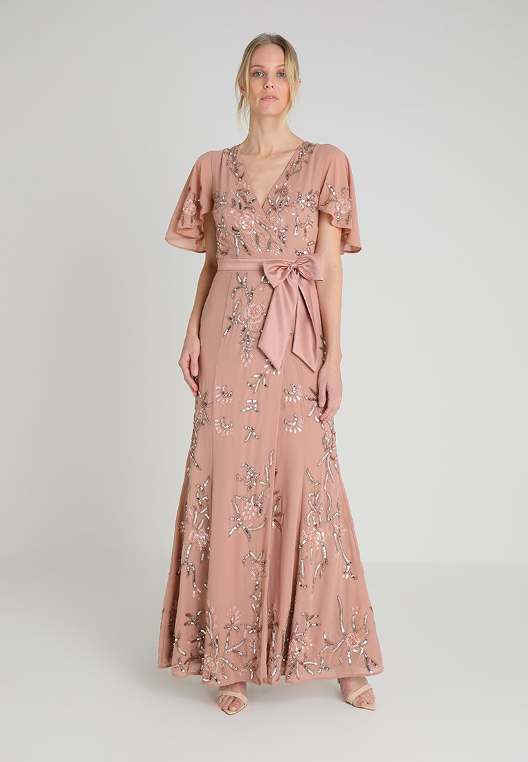 Maya Deluxe - WRAP MAXI DRESS WITH FLORAL EMBELLISHMENT AND BOW - Vestido de fiesta - silver/pink