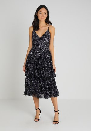 TIERED MIDI DRESS WITH SEQUIN EMBELLISHMENT - Cocktailkjole - black