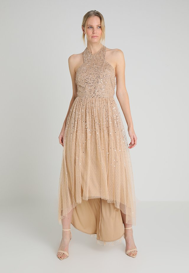 CAMI MAXI DRESS WITH SPOT AND SCATTERED SEQUIN - Galajurk - nude