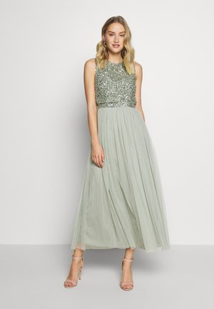 SLEEVELESS DOUBLE LAYER EMBELLISHED LONG MIDI DRESS - Juhlamekko - green