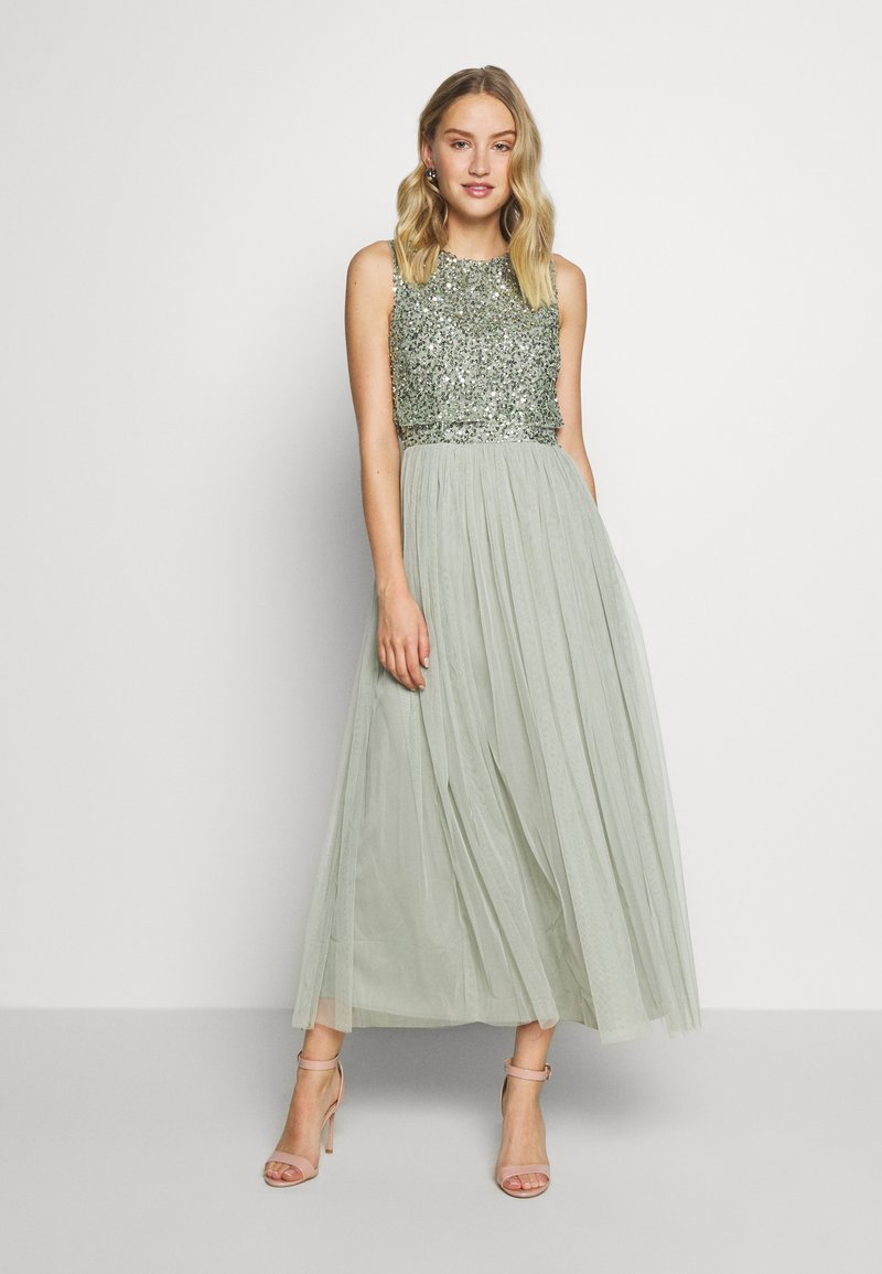 Maya Deluxe - SLEEVELESS DOUBLE LAYER EMBELLISHED LONG MIDI DRESS - Cocktailklänning - green