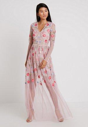 EMBROIDERED LONG SLEEVE DRESS - Společenské šaty - pink