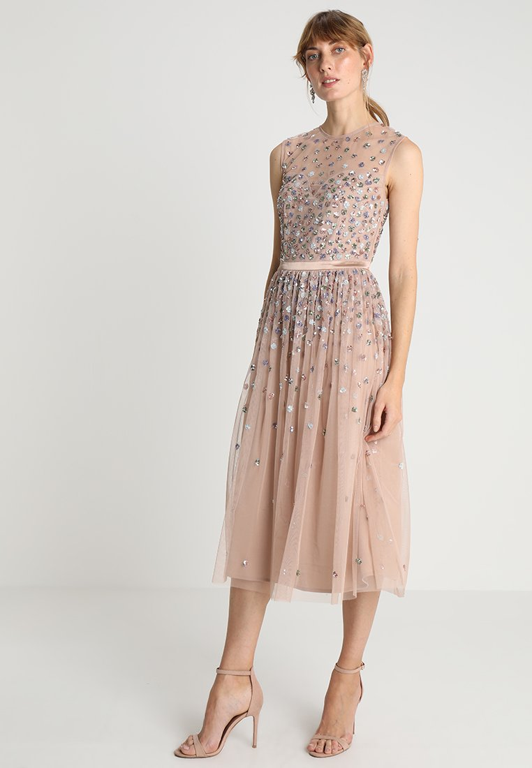 Maya Deluxe - CLUSTER EMBELLISHED MIDI DRESS WITH YOKE - Cocktail dress / Party dress - taupe blush/multi