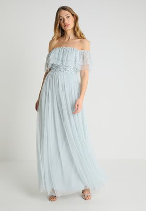 DOUBLE RUFFLE BARDOT DRESS - Ballkjole - ice blue