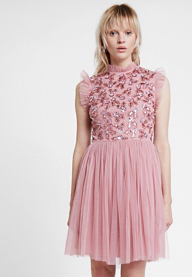 HIGH NECK RUFFLE DETAIL EMBELLISHED MINI DRESS - Vestito elegante - pink