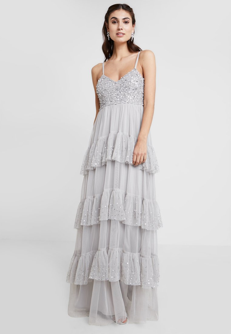 Maya Deluxe - CAMI DRESS WITH EMBELLISHED RUFFLE SKIRT - Ballkleid - soft grey