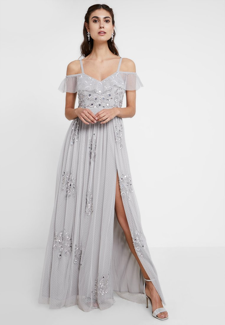Maya Deluxe - EMBELLISHED DRESS IN SPOT WITH RUFFLE COLD SHOULDER - Galajurk - soft grey