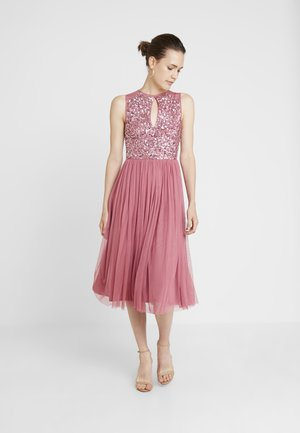 KEYHOLE FRONT MIDI DRESS WITH SCATTERED SKIRT - Cocktail dress / Party dress - rose/pink